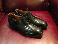 Johnston & Murphy men's black wing tip leather shoes size 12 C/A made in USA