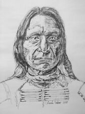 Original Portrait and Drawing of Red Cloud-American Indian. Ink on paper signed