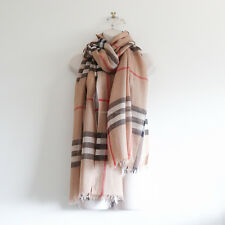 100% auth BURBERRY 'checked wool silk blend scarf' nova brown plaid light long