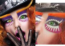 Easy Mad Hatter Sticker Eye Makeup Crazy Clown Wonderland Face Mask Costume Set