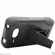 For Kyocera Event C5133 Advanced HYBRID KICK STAND Rubber Case Cover Black Black