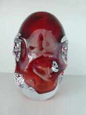 Design Vase  ⭐️ Murano  ⭐️ rot überfangen ⭐️ Designobjekt  ⭐️ Dellenoptik