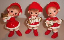 Christmas Elves in Santa Hats w/ Musical Instruments! SET OF 3 Figurines Vintage