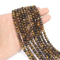 Tiger Eye Natural Round Loose Beads Strand Stones For Bracelet Jewelry Making hi