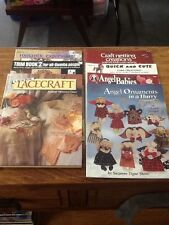 CRAFT BOOK LOT OF 7 CORK MAGNETS ANGEL ORNAMENTS NETTING LACE TRIM