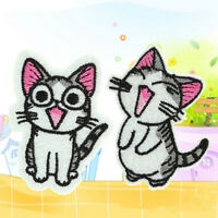 1/2Pcs Sweet Twin Cat DIY Embroidery Cloth Iron On Patch Sew Motif Applique WKAU