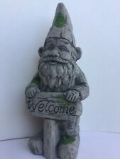 Large Traditional Garden Gnome With  Patches And A Welcome Sign New
