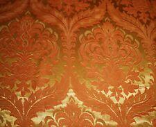 Vintage Reto 60's Acanthus Medallion Satin Damask Jacquard Fabric ~Orange Yellow