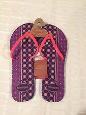New Havaianas Flat Mix Purple Pink 11/12W Flip Flops Slim Made in Brazil