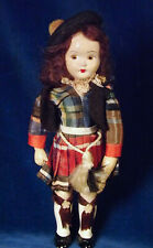 Vintage 7.5� Hard Plastic Scottish Girl Doll Plaid Kilt Shirt Gartered Stockings