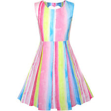 Sunny Fashion Girls Dress Striped Heart Shape Back Pink Party Age 4-8 Years
