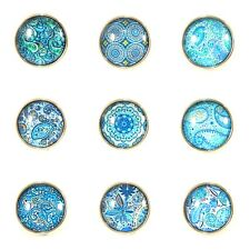 Noosa Style Chunks Ginger Snap On Jewellery Button Charms Mandala Aqua 18mm