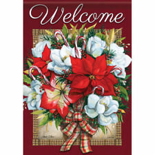 "New listing Welcome Christmas Flowers 13"" X 18"" Garden Flag Flg46030 Nicole Decorative"