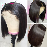 UNice Lace Front Human Hair Wigs Bob Straight Brazilian Pre Plucked Wigs 12 inch