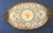 Vintage Petit Point Ladies Dressing Table Brass & Glass Lace Embroidered Tray