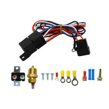 "3/8"" Thread Electric Radiator Engine Fan Temperature Switch Thermostat Relay Kit"