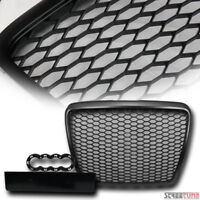 Blk RS-Sport Honeycomb Mesh Front Hood Bumper Grill Grille For 08-11 Audi A6 S6