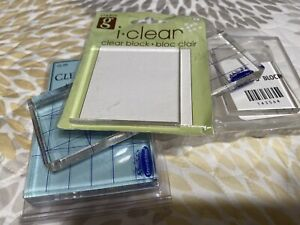 Clear Acrylic Blocks for Stamping - Bundle Of 8 Blocks. Assorted Sizes/ Brands