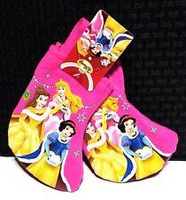 "2 New Disney Princess 7"" Mini Christmas Stockings - Pink Felt - Ships Free"