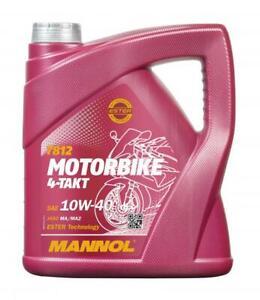 MANNOL 10W40 4T Ester Aceite para Motos Motocicleta API SL, Jaso MA2, 4L