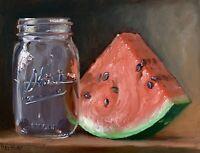 """Watermelon Jar of Water"" NOAH VERRIER Still life oil painting, Signed art print"