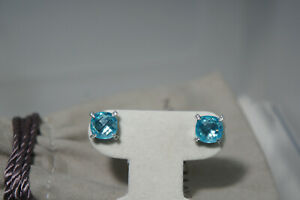 David Yurman 925 Silver CHATELAINE Cushion Cut Blue Topaz Diamond Earrings