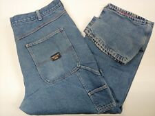 SMITH'S WORKWEAR Flannel Lined Blue Denim Carpenter Work Jeans Men's SIZE 42x30