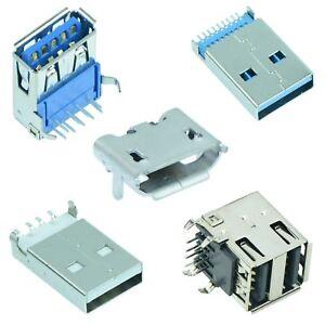 USB Connector Plug Socket Male Female Type A B Micro PCB 2.0 3.0