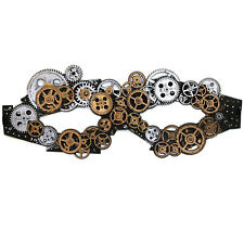 Steampunk Cosplay Goth Gentleman, Cogs Accessory Rubber Mask - Bronze / Silver