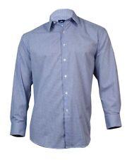 John Ashford Men's Button Down Dress Shirt (White and Blue, 17/34x35)