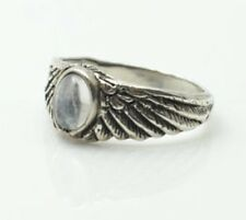 Eagle Wing Ring .925 Sterling Silver Small Sz 5 w/ Genuine Rainbow Moonstone