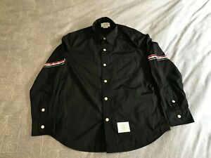 Thom Browne Taped Arm Shirt Jacket in Black, Size 3, Brand New, Never Worn
