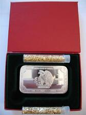 1-OZ PURE SILVER 999  RARE  U.S.  DETAILED BALD EAGLE ENGRAVABLE ART BAR + GOLD