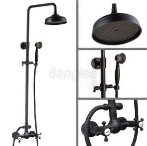 """Black Oil Rubbed Brass Wall Mounted 8""""Rain Shower Faucet Set Mixer Tap 8rs497"""