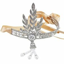 1920's Flapper Great Gatsby Diamante Headband Ribbon Bridal Tiara Ivory Prom