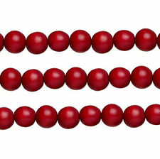 Wood Round Beads Cranberry Red 8mm 16 Inch Strand