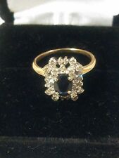 2/3 CTW NATURAL BLUE SAPPHIRE DIAMOND RING 14K SOLID YELLOW GOLD