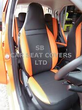 TO FIT A TOYOTA AYGO, CAR SEAT COVERS, 2013 MODEL, CUSTOM MADE, BLACK / ORANGE