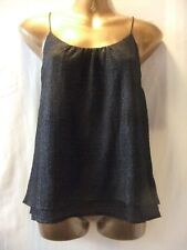 ladies NwoT H&M 10 BLACK STRETCH SHEEN TEXTURED CREPE/TWIN LAYERS/STRAPPY TOP