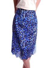 Vintage Half  Slip Laros Blue Printed Silk 1950S 23 Waist Pencil Skirt S XS