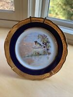 Limoges Bird Plate Blue And Gold 5 Inches With Stand.