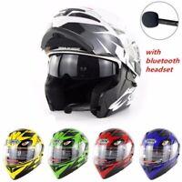 DOT Motorcycle Motor Cross Bluetooth Flip Up Full Face Helmet Modular Dual Visor