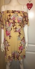 A3894 Size 10 Pink Yellow Floral Print Off The Shoulder Summer Chic Dress