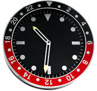 Modern wall clock, metal case, black dial, silent sweep, 35 cm