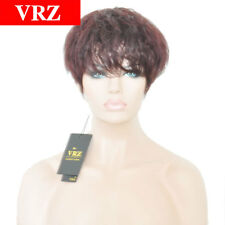 VRZ 100% Human Hair Wigs Short Red Wine Wavy Brazilian Hair Wigs None Lace wigs