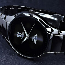 Pierrini Uhr Herrenuhr Armbanduhr Schwarz Flaches Design im Keramik Look