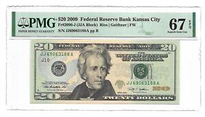 2009 $20 KANSAS CITY FRN, PMG SUPERB GEM UNCIRCULATED 67 EPQ BANKNOTE