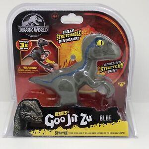 Heroes of Goo Jit Zu Jurassic World VELOCIRAPTOR BLUE Stretchable Dinosaur NEW