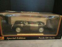 MAISTO SPECIAL EDITION PORSCHE 550 A SPYDER 1:18 SCALE DIE CAST BLACK CONVERTIBL