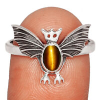 Bat - Tiger Eye - South Africa 925 Sterling Silver Ring Jewelry s.9 BR16967 XGB